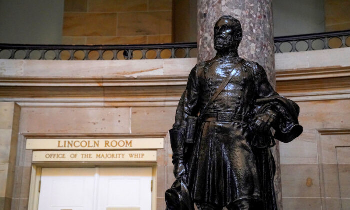 A statue of Confederate Joseph Wheeler is displayed in the U.S. Capitol in Washington, on July 23, 2020. (Erin Scott/Reuters)