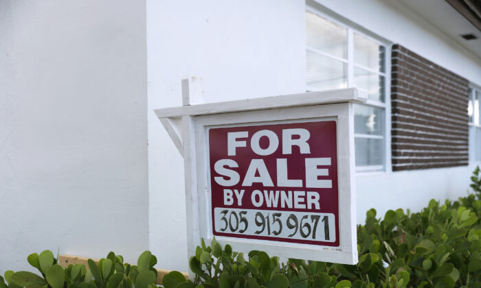 A for-sale sign is seen in front of a home in Miami, Fla., on Sept. 30, 2020. (Joe Raedle/Getty Images)