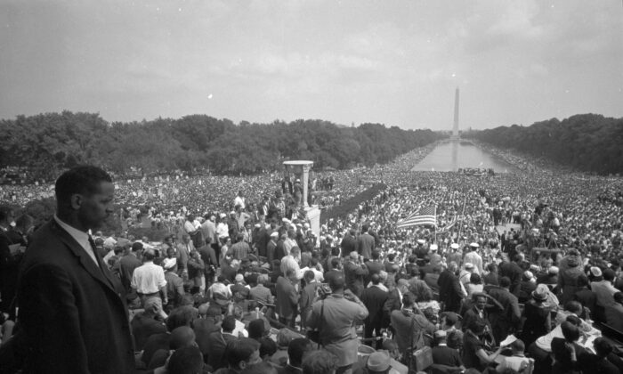 The Civil Rights Act of 1964—still the law of the land—bars employers from allowing a toxic work environment. A view of the huge crowd from the Lincoln Memorial to the Washington Monument, during the March on Washington on Aug. 28, 1963. (Warren K. Leffler/Library of Congress)