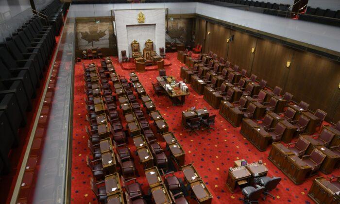 The Senate of Canada building and Senate Chamber are pictured in Ottawa on Feb. 18, 2019. (The Canadian Press/Sean Kilpatrick)