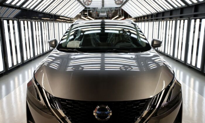 A Nissan Qashqai is seen ahead of a news conference, on the production line of Nissan's Sunderland plant in Sunderland, Britain, on July 1, 2021. (Phil Noble/Rueters)