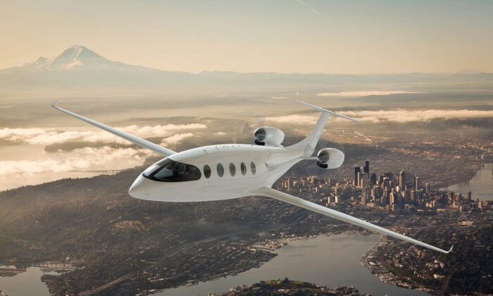 A rendering of the nine-passenger, two-crew Alice electric plane in development by Eviation in Arlington. The plane will be battery powered, with electric motors made by sister company MagniX of Everett. (Eviation/TNS)