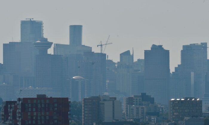 A view of the city after the scorching weather triggered an Air Quality Advisory in Vancouver, British Columbia, Canada, on June 28, 2021. (Jennifer Gauthier/Reuters)