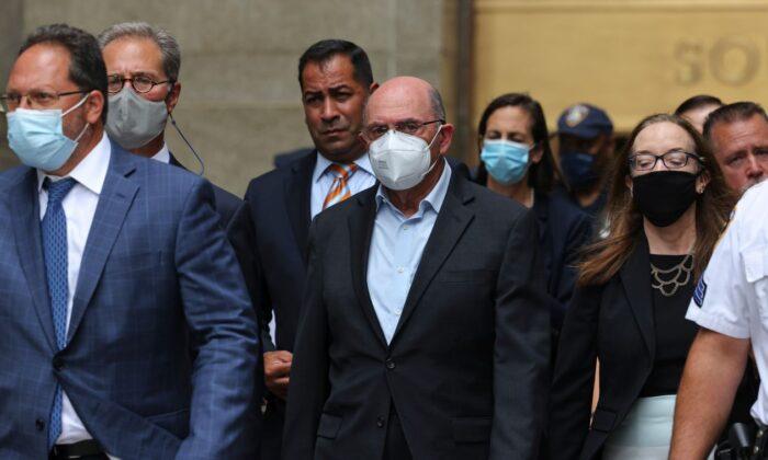 Allen Weisselberg, Trump Organization CFO, leaves Manhattan Criminal Court after his arraignment in State Supreme Court in Lower Manhattan on July 1, 2021. (Michael M. Santiago/Getty Images)
