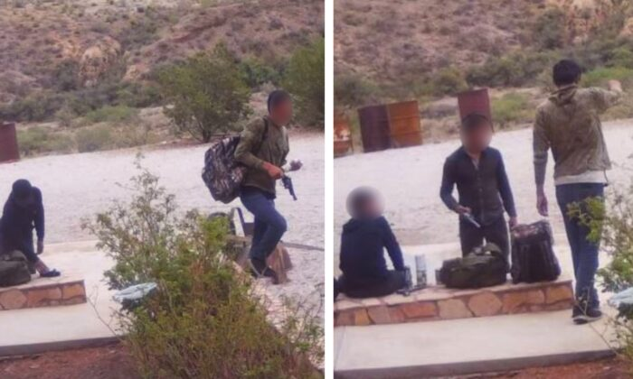 Three illegal immigrants were arrested by Sierra Blanca Border Patrol in Hudspeth County, Texas, on June 29 after allegedly breaking into a ranch house and stealing weapons along with other items. (Courtesy of U.S. Customs and Border Protection)