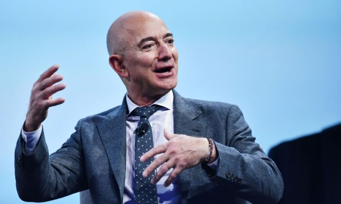 Blue Origin founder Jeff Bezos speaks during the the 70th International Astronautical Congress  in Washington, on Oct. 22, 2019. (Mandel Ngan/AFP via Getty Images)