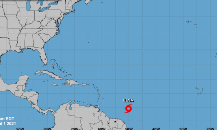 A screenshot of tropical storm Elsa which formed in the Atlantic, on July 1, 2021. (Courtesy of National Hurricane Center/Screenshot via The Epoch Times)