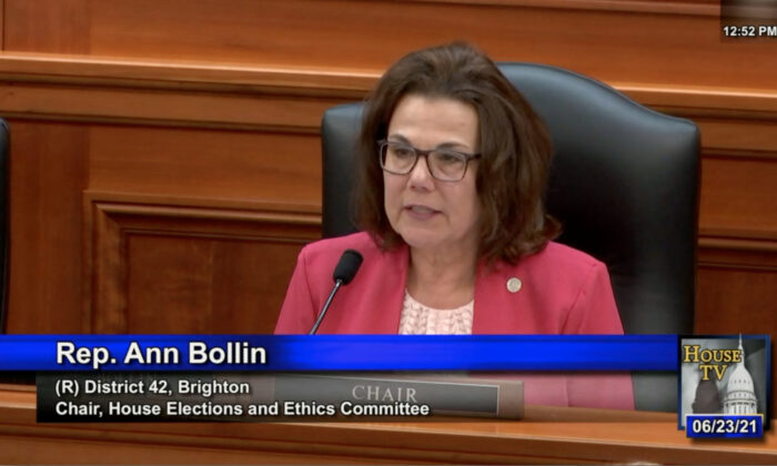 State Representative Ann Bollin was speaking at the Michigan House Elections and Ethics Committee Meeting on the new election bills - photo ID verifications on June 23, 2021. (Michigan House website)