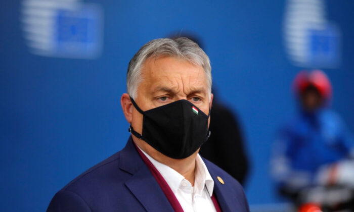 Hungary's PM Viktor Orban arrives on the second day of a European Union (EU) summit at The European Council Building in Brussels, Belgium, on Oct. 2, 2020. (Oliver Matthys/Pool/AFP via Getty Images)