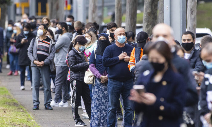 Long queues of people are seen at the NSW Vaccination Centre in Homebush in Sydney, Australia on July 1, 2021. (Jenny Evans/Getty Images)