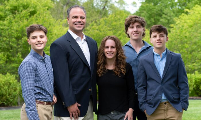 Jason Richey (2nd L) and his family. Richey, partner of Pittsburgh's K&L Gates law firm, has entered the 2022 GOP Pennsylvania gubernatorial race. (Courtesy of Jason Richey)