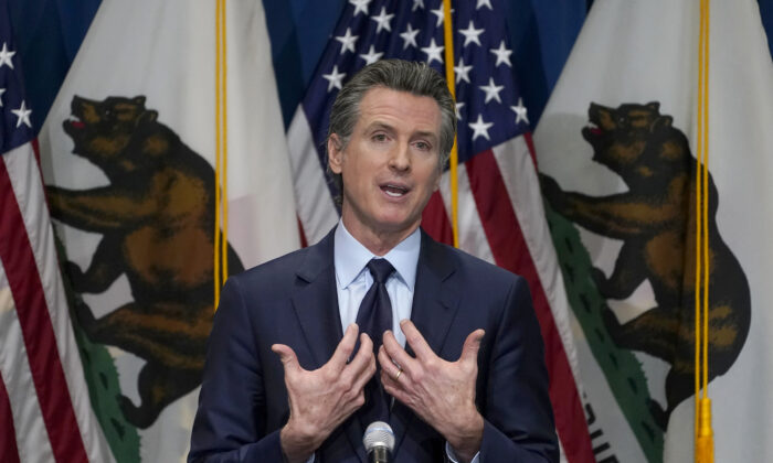 California Gov. Gavin Newsom gestures during a news conference in Sacramento, Calif., on Jan. 8, 2021. (Rich Pedroncelli/Pool/AP Photo)