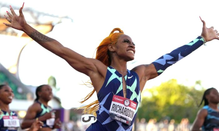 Sha'Carri Richardson celebrates after winning the women's 100m in 10.86 during the U.S. Olympic Team Trials at Hayward Field in Eugene, Ore., on Jun 19, 2021. (Kirby Lee/USA TODAY Sports via Reuters)