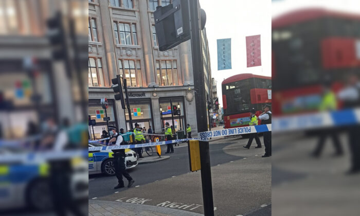 Picture taken following an fatal stabbing incident at Oxford Circus, central London on July 1, 2021. (Twitter user @okubax via PA)
