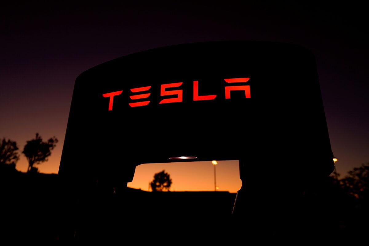 Tesla supercharger at a charging station