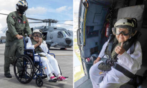 Navy Helps Widow Celebrate 100th Birthday by Flying Her Around Ship Named After Late Husband