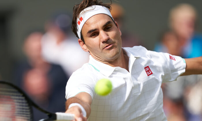 Roger Federer (SUI) plays Cameron Norrie (GBR) on Centre Court in the men's third round at All England Lawn Tennis and Croquet Club in London, United Kingdom, Jul 3, 2021.(Peter van den Berg/USA TODAY Sports)