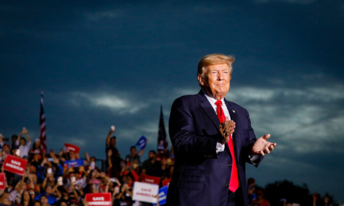 Former President Donald Trump arrives to hold a rally in Sarasota, Fla., on July 3, 2021. (Eva Marie Uzcategui/Getty Images)