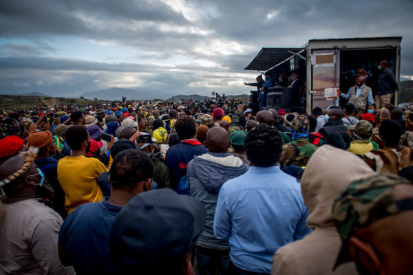 Former president Jacob Zuma addresses his supporters