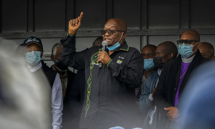 Former South African President Jacob Zuma addresses his supporters at his home in Nkandla, KwaZulu-Natal Natal Province, South Africa, on July 4, 2021. (Shiraaz Mohamed/AP Photo)