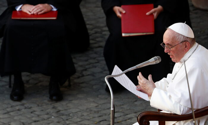 Pope Francis holds the weekly general audience at the San Damaso courtyard, at the Vatican on June 30, 2021. (Guglielmo Mangiapane/Reuters)