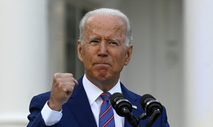President Joe Biden speaks during Independence Day celebrations on the South Lawn of the White House in Washington on July 4, 2021. (Andrew Caballero-Reynolds/AFP via Getty Images)