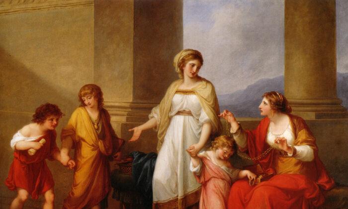 """""""Cornelia, Mutter der Gracchen"""" (1785) by Angelica Kauffmann. (Public domain)"""