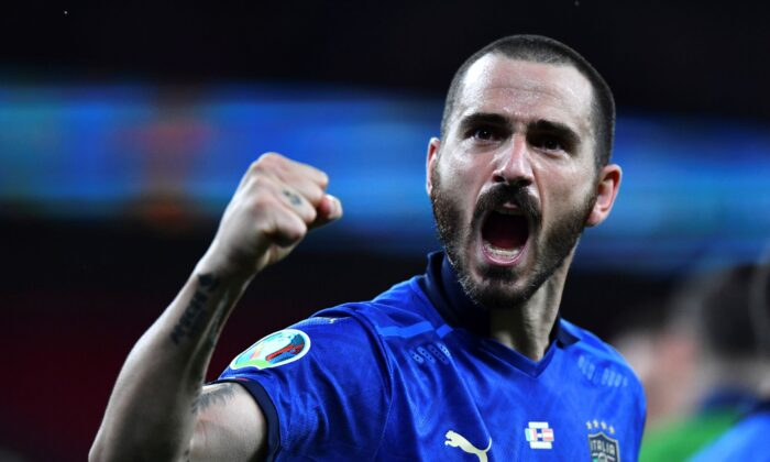 Italy's Leonardo Bonucci celebrates end of the Euro 2020 soccer championship round of 16 match between Italy and Austria at Wembley stadium in London, on June 26, 2021. (Ben Stansall/Pool Photo via AP)