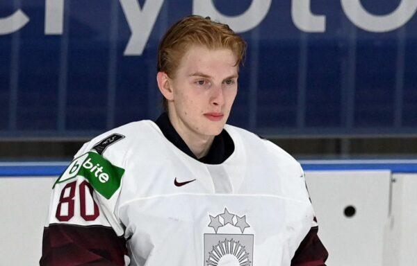Latvia's goalkeeper Matiss Kivlenieks