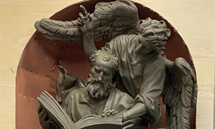"""A detail of """"Saint Matthew,"""" one of the Four Evangelists, 2021, by Cody Swanson. Clay in progress. Chapel of the Holy Cross, Jesuit High School, Tampa, Fla. (Courtesy of Cody Swanson)"""