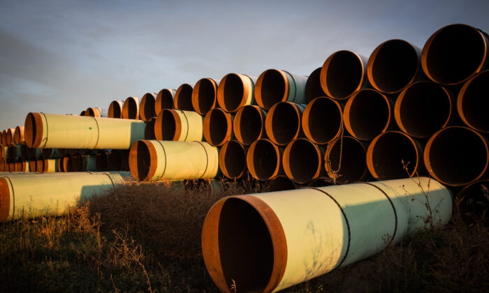 Miles of unused pipe, prepared for the proposed Keystone XL pipeline, in a lot outside Gascoyne, N.D., on Oct. 14, 2014. (Andrew Burton/Getty Images)