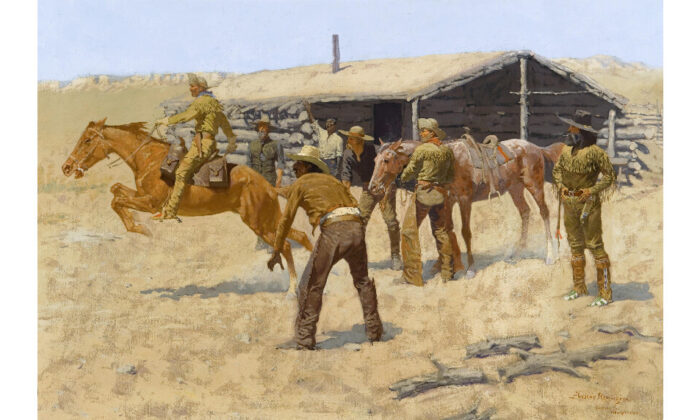 """""""The Coming and Going of the Pony Express"""" (1900) by Frederic Remington. (Public domain)"""