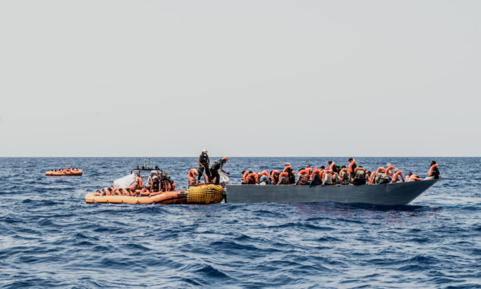 Migrants are rescued during a search and rescue (SAR) operation in the Mediterranean Sea, on July 4, 2021. (Flavio Gasperini/SOS Mediterranee/Handout via Reuters)