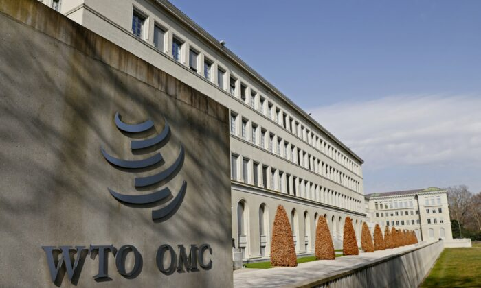 A logo is pictured on the World Trade Organization headquarters (WTO) in Geneva, Switzerland, on March 4, 2021. (Denis Balibouse/Reuters)