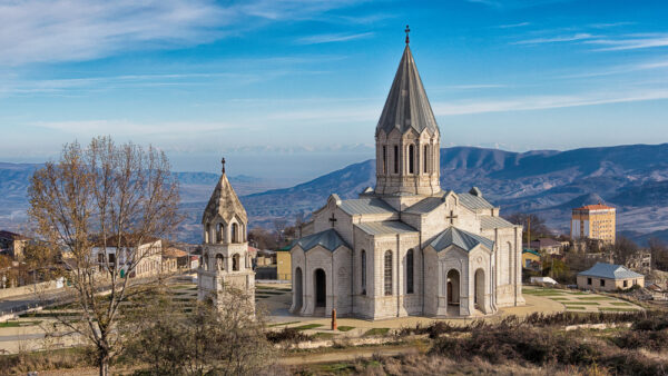 Ghazanchetsots Cathedral, a cathedral in the city of Shushi in Nagorno Karabakh. (Martin Trabalik/Shutterstock)i