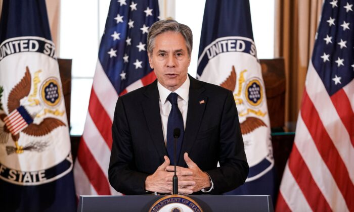 Secretary of State Antony Blinken delivers remarks on the release of the 2021 Trafficking in Persons (TIP) Report at the State Department in Washington, D.C., on July 1, 2021. (Ken Cedeno/POOL/AFP via Getty Images)