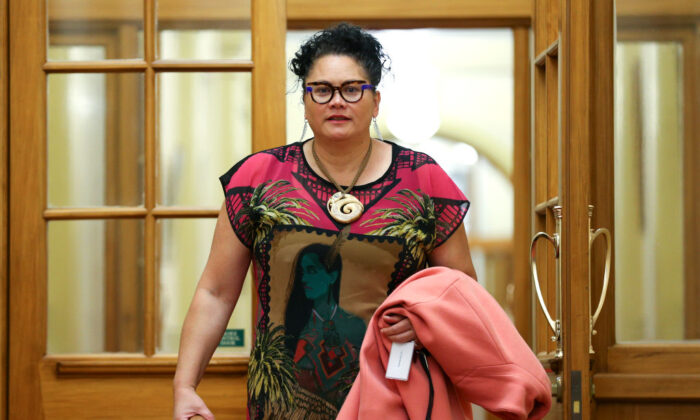 Labour MP Louisa Wall arrives for a party meeting at Parliament in Wellington, New Zealand on October 20, 2020. (Hagen Hopkins/Getty Images)