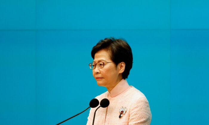 Hong Kong Chief Executive Carrie Lam attends a news conference to announce the replacement of the Police Chief and Security Secretary, in Hong Kong on June 25, 2021. (Reuters/Tyrone Siu)