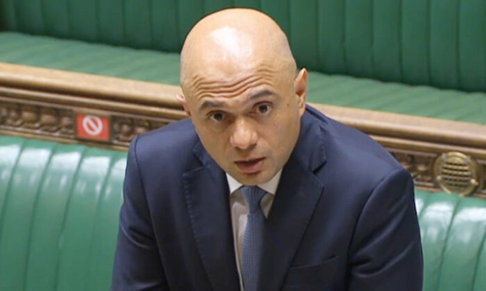 Health Secretary Sajid Javid speaking to MPs in the House of Commons in London on July 6, 2021. (House of Commons via PA)