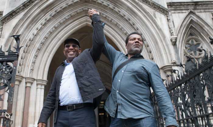 Paul Green (left) and Cleveland Davidson outside the Royal Courts of Justice in London, on July 6, 2021. (Stefan Rousseau/PA)