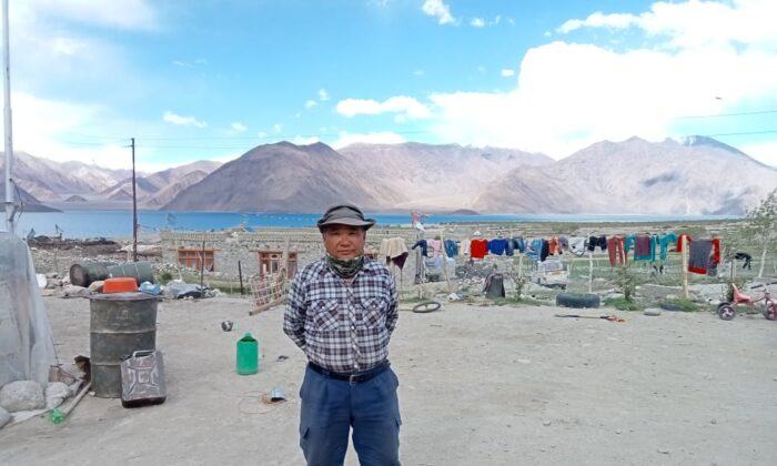 Dorjee Dadul, 54, a resident of village Maan on the bank of the Pangong Tso lake, on the de-facto border between India and China on June 22, 2021. Dadul said his village doesn't have regular electric power, water supply, or telecom connectivity. (Venus Upadhayaya/Epoch Times)
