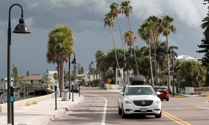 Dark clouds loom over the Pass-A-Grille channel ahead of Tropical Storm Elsa in St. Petersburg, Fla., on July 5, 2021. (REUTERS/Octavio Jones)