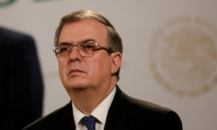 Mexican Foreign Minister Marcelo Ebrard during a news conference at the National Palace in Mexico City, Mexico, on June 15, 2021. (Luis Cortes/File Photo/Reuters)