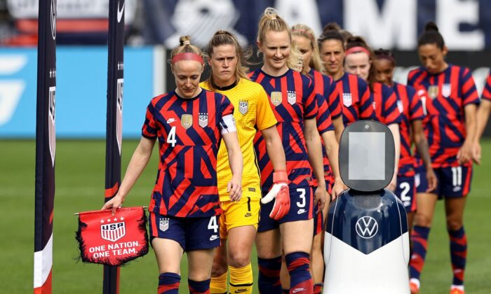 The U.S. women's soccer team ahead of a match with Mexico at Pratt & Whitney Stadium at Rentschler Field  in East Hartford, Conn., on July 05, 2021. (Elsa/Getty Images)