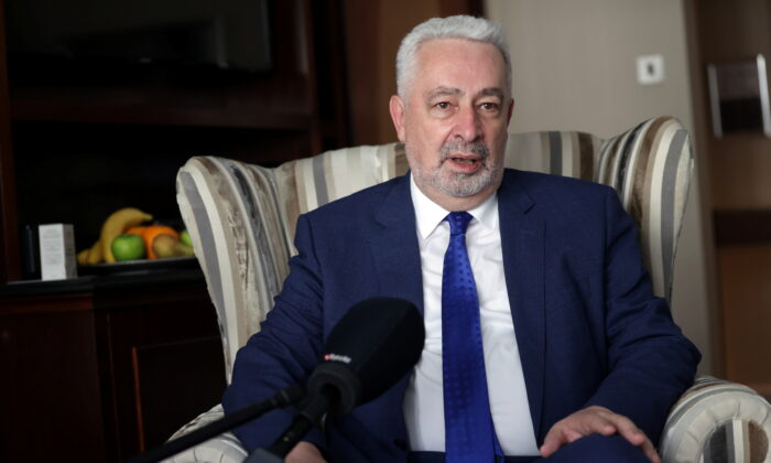 Montenegrin Prime Minister Zdravko Krivokapic speaks during an interview with Reuters in London, Britain, on July 6, 2021. (Hannah McKay/Reuters)