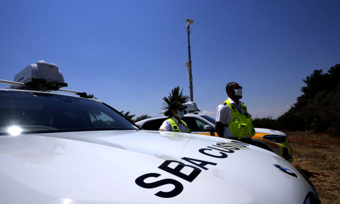 A view of a police customs vehicle in the British military base, Cyprus, on July 6, 2021. (Petros Karadjias/AP Photo)