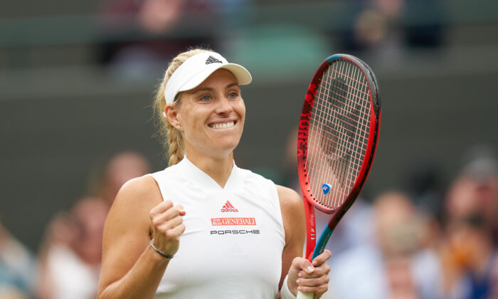Germany's Angelique Kerber celebrates match point against Czech Republic's Karolina Muchova in the women's quarter finals at the Wimbledon Tennis Championships in London, on July 6, 2021. (Peter van den Berg/USA TODAY Sports via Reuters)