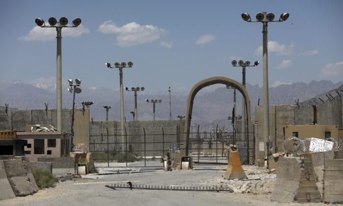 A gate is seen at the Bagram Air Base in Afghanistan on June 25, 2021. (Rahmat Gul/AP Photo)