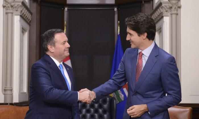 Prime Minister Justin Trudeau meets with Alberta Premier Jason Kenney on Parliament Hill in Ottawa on Dec. 10, 2019. (The Canadian Press/Sean Kilpatrick)