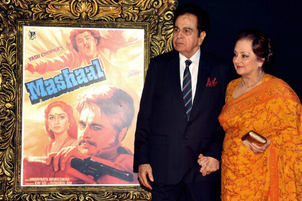 Bollywood film actor Dilip Kumar (L) and his wife